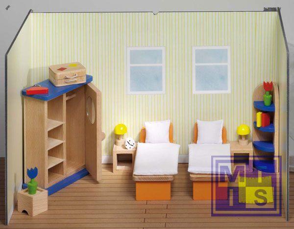 Houten poppenhuis meubeltjes slaapkamer