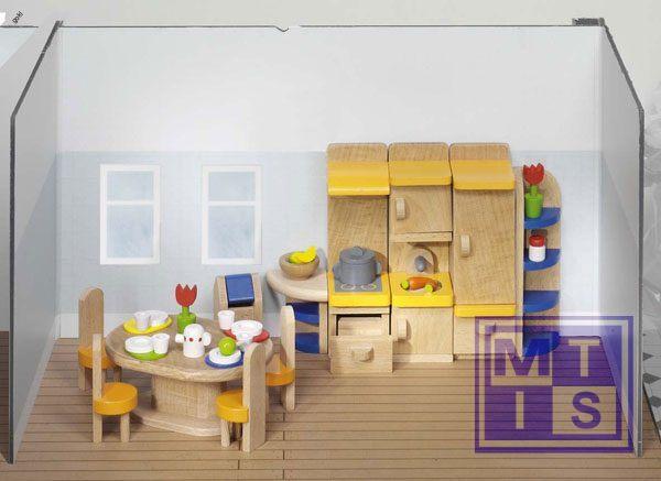 Houten poppenhuis meubeltjes keuken