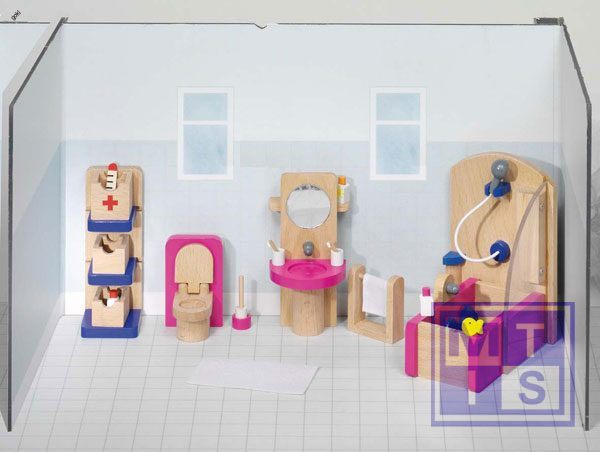 Houten poppenhuis meubeltjes badkamer