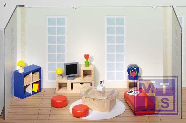 Houten poppenhuis meubeltjes woonkamer