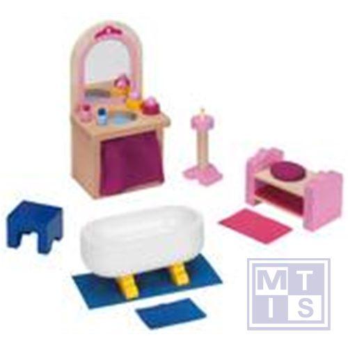 Houten poppenhuis meubels badkamerkasteel