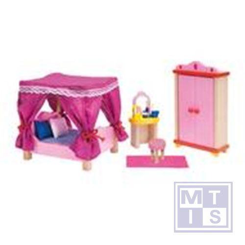 Houten poppenhuis meubels slaapkamer kasteel