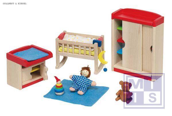 Poppenhuis meubeltjes van hout model babykamer