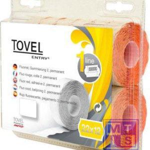 Etiket Tovel 22x12  Meto EcomLine 1-liner: Wit, afneembaar