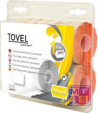 Etiket Tovel 22x12  Meto EcomLine 1-liner: Wit, standaard