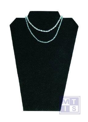 Collierpresentatie zwart fluweel, breedte 22cm, hoogte 32 cm. Vo