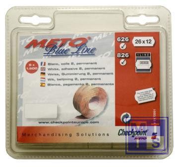 Etiket 26x12 Meto / Tovel: Fluor geel, Standaard