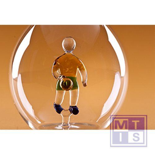 Mondgeblazen fles met voetballer