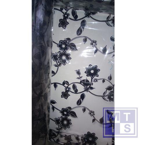 Geschenkfolie, bloemen zwart