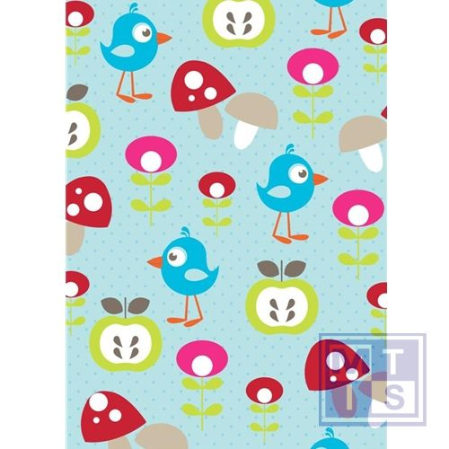 Kinderpapier Vogel blauw 601240