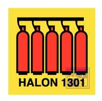 Imo halon 1301 battery vinyl fotolum 150x150mm