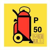 Imo wheeled powder fire ext. vinyl fotolum 150x150mm