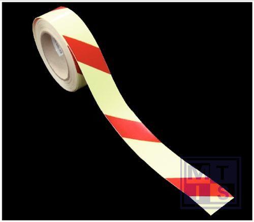 Tape rood/geel gestreept fotolum 40mmx10m