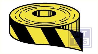 Kleefband zwart gestreept zelfklevend vinyl 25mmx6mm