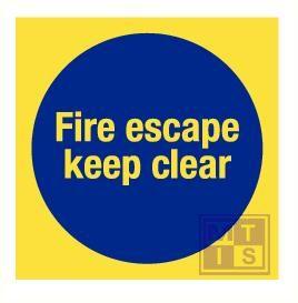 Imo  fire escape keep clear vinyl fotolum 150x150mm