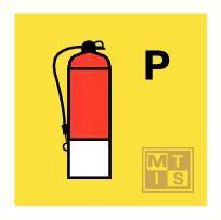 Powder fire extinguisher fotolum vinyl 150x150mm