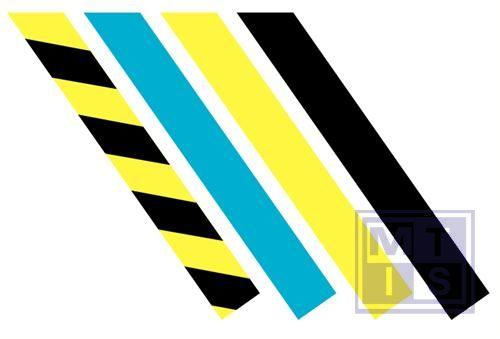 Permastripe geel/zwart 50mm rol 30m