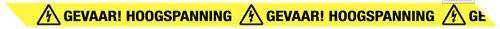 Lint gevaar hoogspanning 75MMX300MTR. geel/zwart