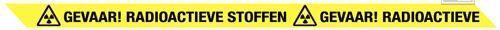 Gevaar! Radioactieve stoffen lint 75mmx300mtr geel/zwart