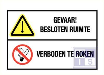 Besloten ruimte/verboden te roken pp 300x150mm