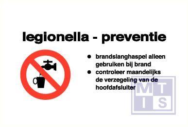 Legionella prevent. + picto vinyl 120x60mm