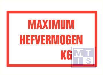 Max. hefvermogen kg vinyl 250x150mm