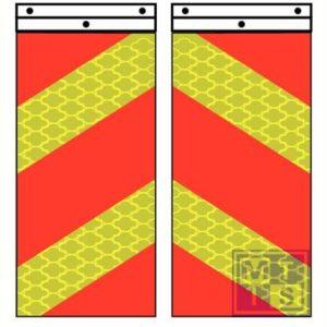 Laadklepvlaggen wit/rood refl. alu 400x250mm