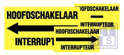 """""""Hoofdschakelaar/Interrupteur"""" rechts vinyl 175x100mm"""