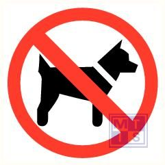 Honden verboden spiegelbeeld 150mm