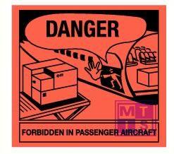 Danger do not load in passenger aircraft vinyl 180x170mm
