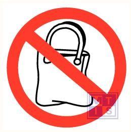 Handtassen verboden vinyl 90mm