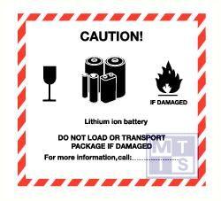 Caution lith ion vinyl 120x110mm