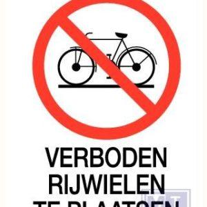 Verboden rijwielen te plaatsen spiegelbeeld 140x200mm