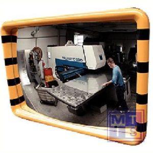 Spiegel met geel/zwarte arcering 60x90cm