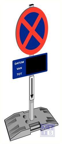 Verboden te staan/parkeren bigfoot/paal/krijtbord/3 beugels