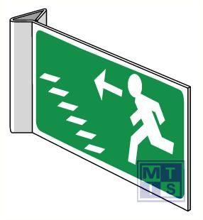 Nooduitgang trap naar muur toe omhoog haaks pvc 300x150mm