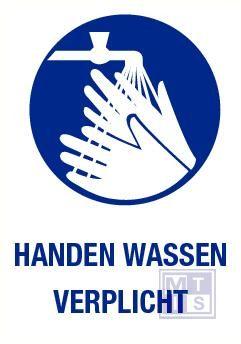 Handen wassen verplicht pp 140x200mm