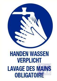 Handen wassen verplicht nl/fr vinyl 140x200mm