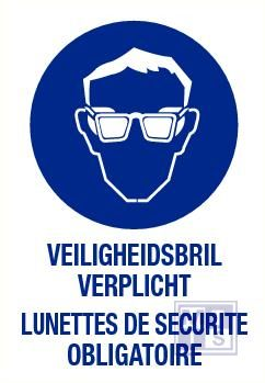 Veiligheidsbril verplicht nl/fr vinyl 140x200mm