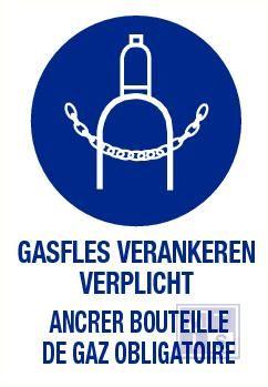 Gasfles verankeren verplicht nl/fr vinyl 140x200mm