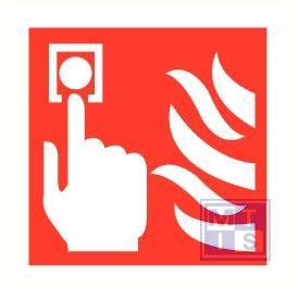 Brandmeldknop/vlam pp zelfklevend 200x200mm