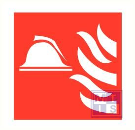 Brandweerhelm/vlam vinyl 100x100mm