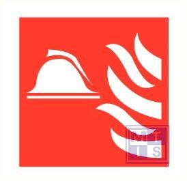 Brandweerhelm/vlam vinyl 200x200mm