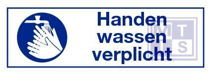 Handen wassen verplicht vinyl 300x100mm