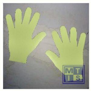 Handafdrukken geel per paar zelfklevend vinyl 200mm