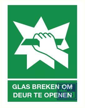 Glas breken om deur te openen pp 150x200mm