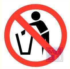 Verboden afval weg te gooien vinyl 90mm