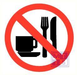 Eten en drinken verboden vinyl 90mm