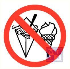 Friet en ijs verboden vinyl 90mm