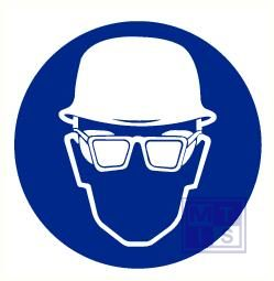 Helm en bril verplicht vinyl 90mm